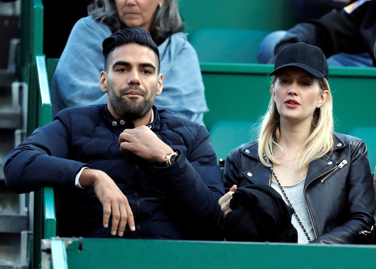 Tennis - Monte Carlo Masters - Monaco, 21/04/2017. Monaco's soccer player Radamel Falcao and his wife Lorelei Taron watch the match between Rafael Nadal of Spain and Diego Schwartzman of Argentina.      REUTERS/Eric Gaillard