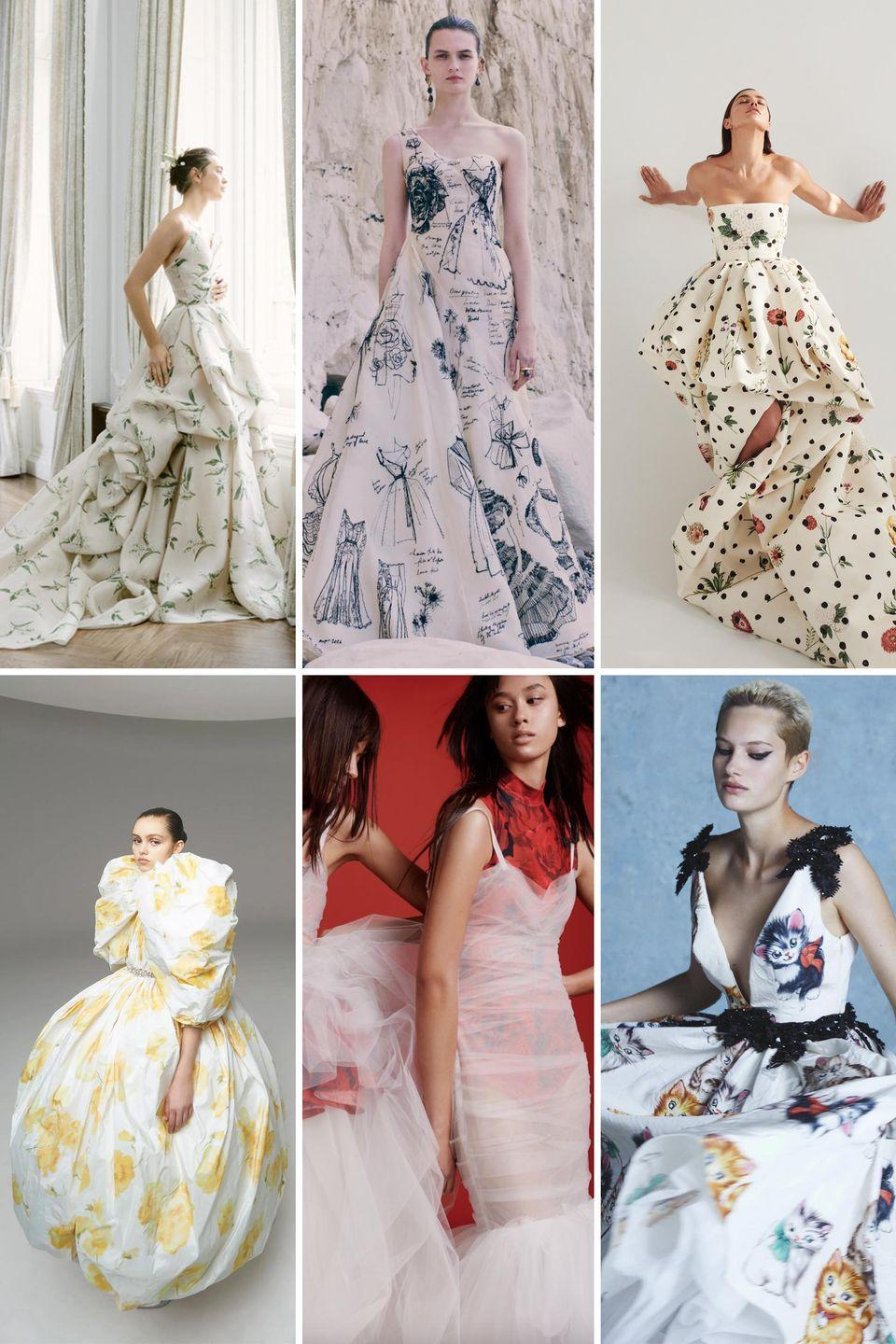 <p>This trend goes beyond florals and pops of color. Emerging from a year like 2020, 2021 is all about bold and playful prints that make us smile, done in chic new ways. Whether it be all-over graphic blooms or characterizing designs a la Monique Lhuillier's Lily of the Valley, Miu Miu's cat-c0vered gown, or Alexander McQueen's vintage fashion sketched frock, this is for the bride who plans to throw caution to the wind once stay at home orders are lifted and gatherings commence once more. </p><p>In short: you can have fun with fashion and play dress up, even for moments as epic as your ceremony. </p><p><em>Clockwise from left: Monique Lhuillier Bridal Fall 2021; Alexander McQueen Resort 2021; Oscar de la Renta Pre-Fall 2021; Giambattista Valli Spring 2020 Haute Couture; Vera Wang Fall 2021; Miu Miu Resort 2021.</em></p>