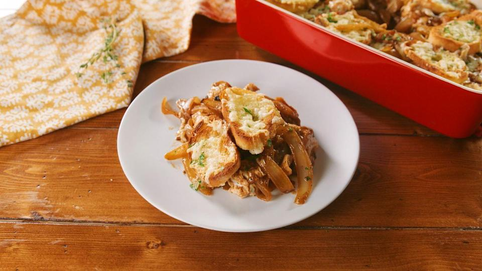"""<p>Picture all the things you love about French onion soup—the rich, brothy onions, toasted bread, and cheese—but as a casserole.</p><p><strong><a href=""""https://www.countryliving.com/food-drinks/a30261050/french-onion-chicken-casserole-recipe/"""" rel=""""nofollow noopener"""" target=""""_blank"""" data-ylk=""""slk:Get the recipe"""" class=""""link rapid-noclick-resp"""">Get the recipe</a>.</strong></p><p><strong><a class=""""link rapid-noclick-resp"""" href=""""https://www.amazon.com/Bakeware-Krokori-Rectangular-Aquamarine-Rectangula/dp/B074Z5X8MT/?tag=syn-yahoo-20&ascsubtag=%5Bartid%7C10050.g.3726%5Bsrc%7Cyahoo-us"""" rel=""""nofollow noopener"""" target=""""_blank"""" data-ylk=""""slk:SHOP BAKING DISHES"""">SHOP BAKING DISHES</a><br></strong></p>"""
