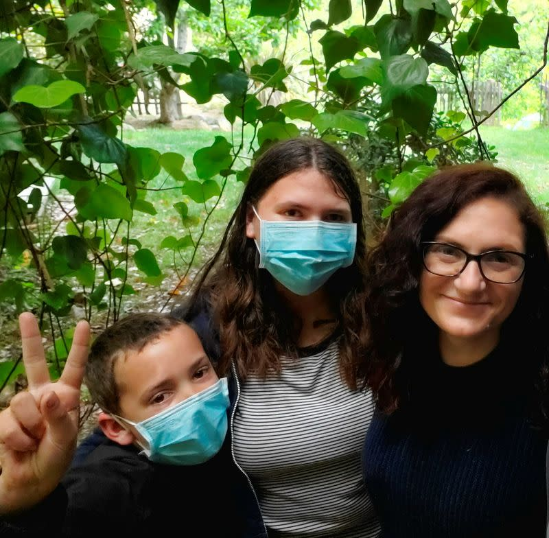 Jess Hudson, 36, right, poses with her children Emerson, 10, and Marleigh, 14, in Big Sur