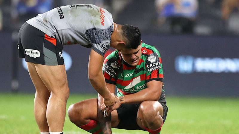 Pictured here, Warriors star Roger Tuivasa-Sheck consoles Rabbitohs fullback Latrell Mitchell.