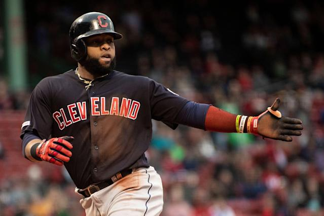 Carlos Santana snapped the Indians record-setting triples drought against the Red Sox. (Photo by Billie Weiss/Boston Red Sox/Getty Images)