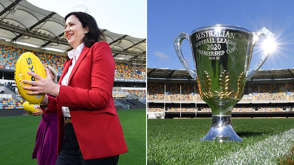 Seen here, Queensland Premier Annastacia Palaszczuk and a close-up of the AFL premiership trophy.