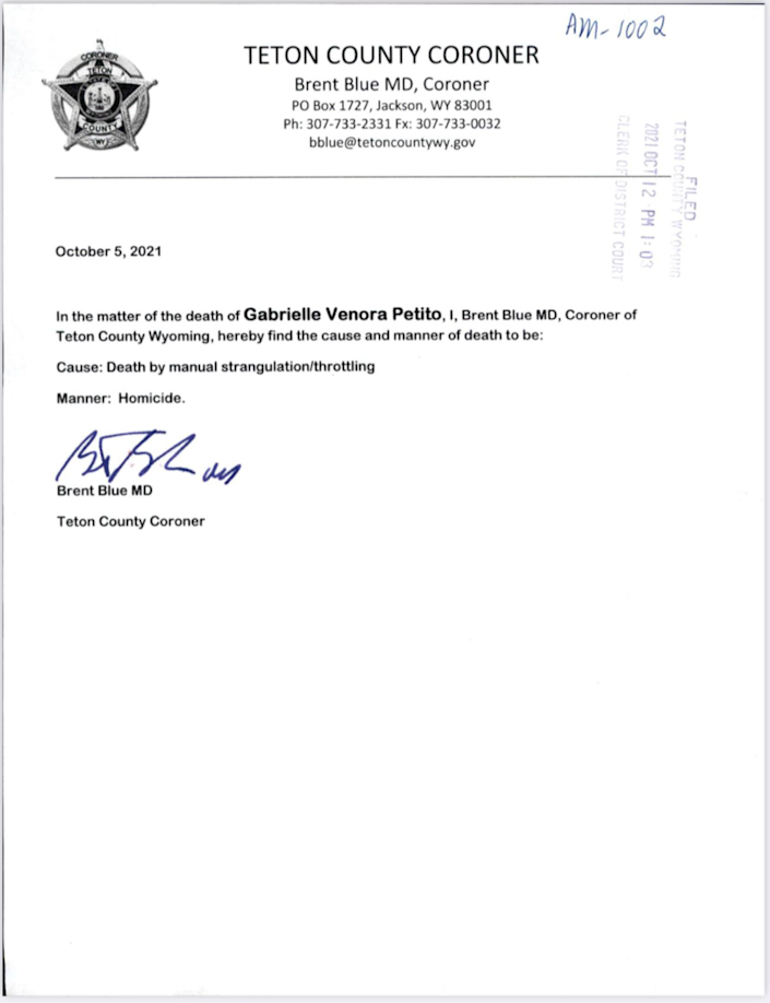 The autopsy ruling in the death of Gabby Petito (Teton County Coroner's Office)