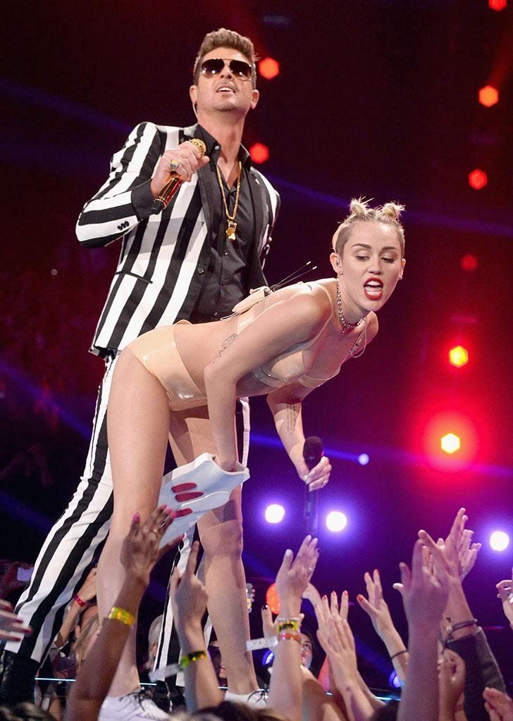 Robin Thicke and Miley Cyrus perform during the 2013 MTV Video Music Awards.
