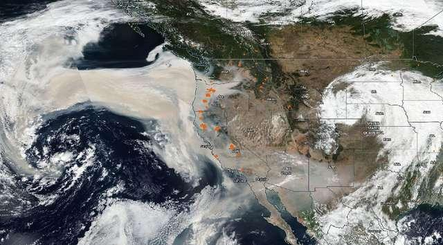 Le nuage de fumée des méga-incendies en Californie arrive en Europe