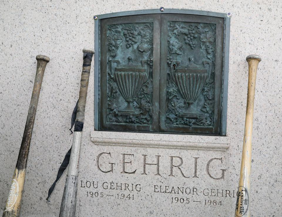 People left baseball bats at Lou Gehrig's gravesite at Kensico Cemetery in Valhalla, May 25, 2021.