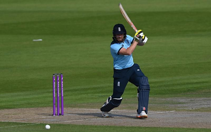 England's Jonny Bairstow plays a shot during the one-day international (ODI) cricket match between England and Australia at Old Trafford in Manchester on September 16, 2020. (Photo by Shaun Botterill - AFP/SHAUN BOTTERILL