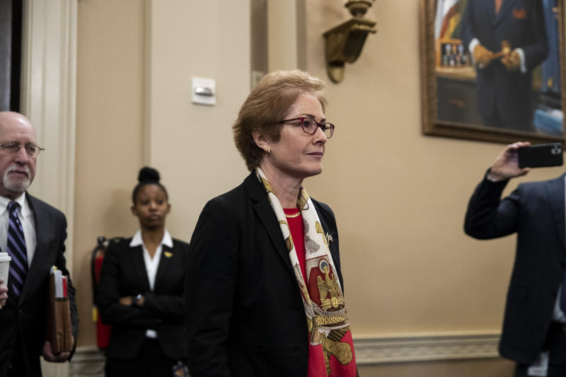 Marie Yovanovitch, the former United States ambassador to Ukraine, returns from a break while testifying before the House Intelligence Committee in Washington on Friday, Nov. 15, 2019. (Anna Moneymaker/The New York Times)