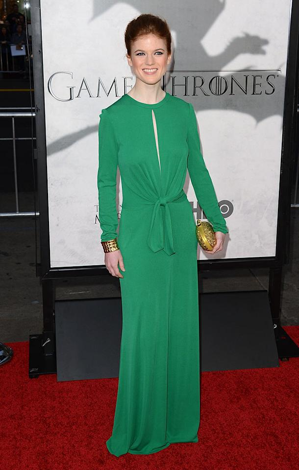 "Rose Leslie arrives at the premiere of HBO's ""Game of Thrones"" Season 3 at TCL Chinese Theatre on March 18, 2013 in Hollywood, California."