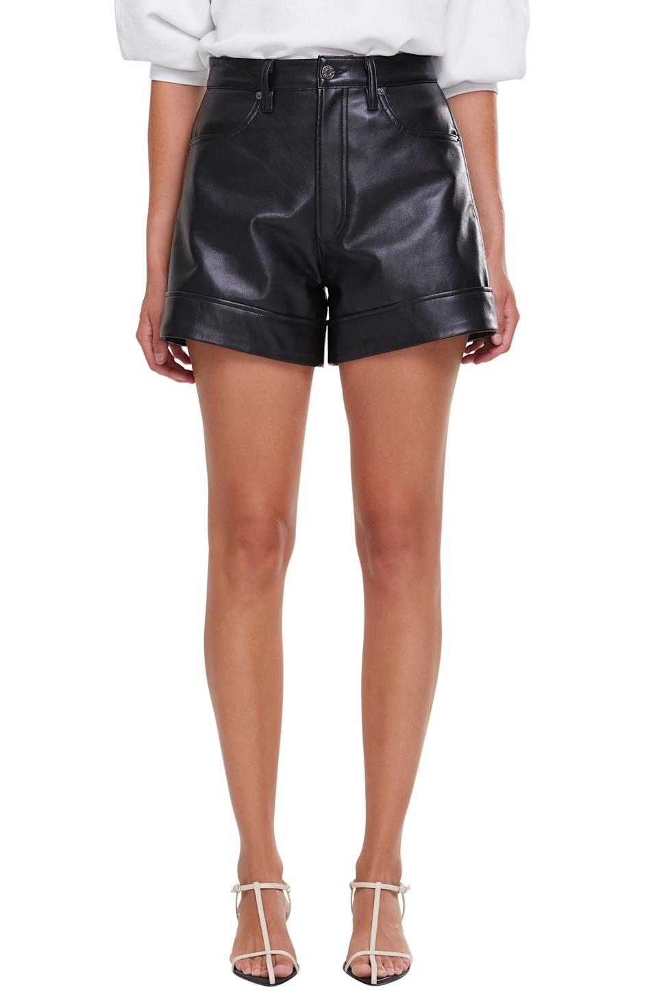 <p>These <span>Agolde Recycled Leather Blend Shorts</span> ($328) will look so good with barely there heels.</p>