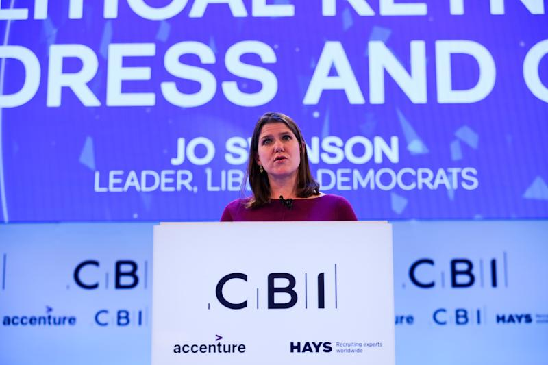 Leader of the Liberal Democrats Jo Swinson makes a keynote political speech during the annual Confederation of British Industry (CBI) conference held in London. (Photo by Steve Taylor / SOPA Images/Sipa USA)