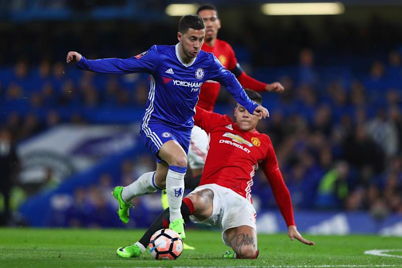 Crunch clash: Conte said United made it 'impossible' for Hazard in February's FA Cup tie: Getty Images