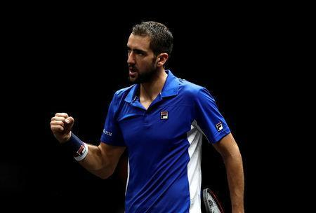 FILE PHOTO: Marin Cilic of team Europe celebrates after the match during Laver Cup Day 1, Prague, Czech Republic, September 22, 2017. REUTERS/David W Cerny