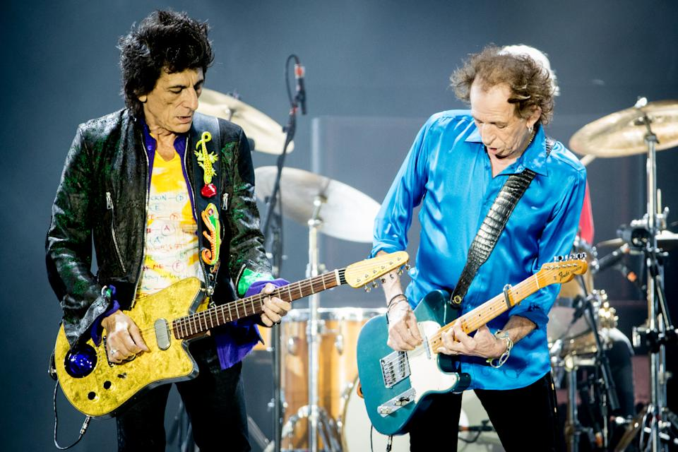 Ronnie Wood and Keith Richards of The Rolling Stones perform onstage at Hard Rock Stadium on August 30, 2019 in Miami, Florida. (Photo by Rich Fury/Getty Images)