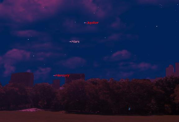 This sky map shows the locations of Jupiter, Mars and Mercury just before dawn on Aug. 5, 2013 as seen from mid-northern latitudes.