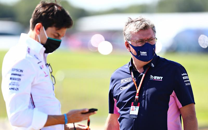 Otmar Szafnauer (right), team principal of Racing Point, and Mercedes boss Toto Wolff (left) at Silverstone - GETTY IMAGES