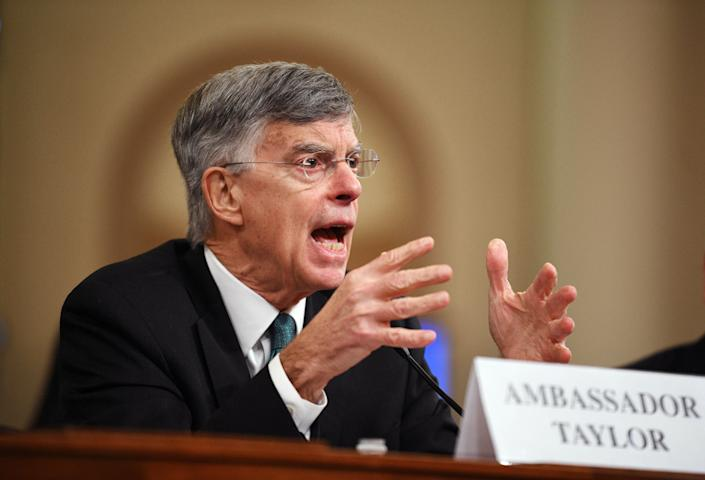 Bill Taylor, former ambassador to Ukraine, testified before the U.S. House Committee on Intelligence during the impeachment hearings on President Donald Trump, Nov. 13, 2019. (Photo: Xinhua News Agency via Getty Images)