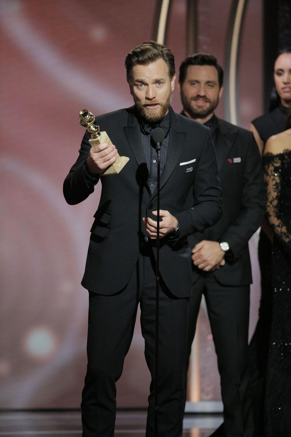 """<p>Someone might want to tell Ewan for the next time that it's probably not the best idea to thank both your estranged wife AND girlfriend in <a href=""""https://www.cosmopolitan.com/uk/entertainment/a14777210/ewan-mcgregor-golden-globes-speech-thanked-wife-girlfriend/"""" rel=""""nofollow noopener"""" target=""""_blank"""" data-ylk=""""slk:the same acceptance speech"""" class=""""link rapid-noclick-resp"""">the same acceptance speech</a>. He did just that at the 2018 ceremony while winning for Best Actor in a Limited Series. What's worse, Ewan's estranged wife, Eve Mavrakis, <a href=""""https://www.mirror.co.uk/3am/celebrity-news/ewan-mcgregor-wife-breaks-silence-11843658"""" rel=""""nofollow noopener"""" target=""""_blank"""" data-ylk=""""slk:told reporters"""" class=""""link rapid-noclick-resp"""">told reporters</a> she """"did not like"""" it one bit.</p>"""