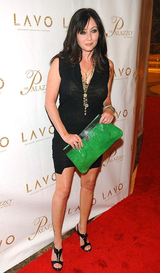 """Shannen Doherty added a splash of color to her black ensemble in the form of a lime clutch. Denise Truscello/<a href=""""http://www.wireimage.com"""" target=""""new"""">WireImage.com</a> - September 13, 2008"""