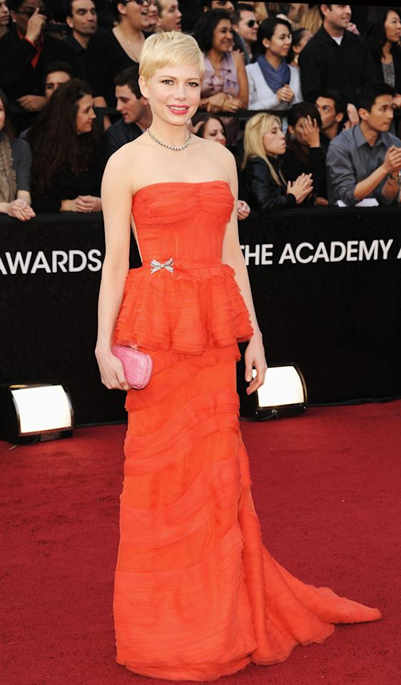 Michelle Williams arrives at the 84th Annual Academy Awards in Hollywood, CA.