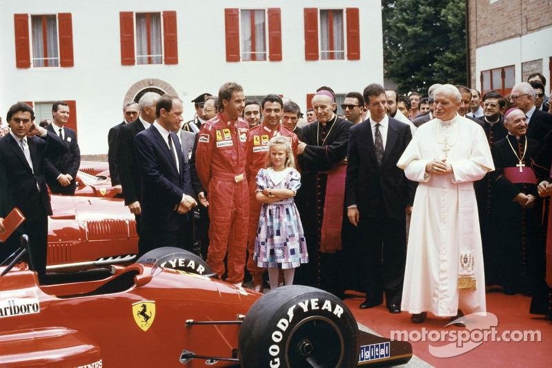 "Pope John Paul II visited Maranello on June 4, 1988, but Enzo was too ill to attend and he would die on August 14, less than a month before Berger and Alboreto scored a Ferrari 1-2 at Monza. On the right of His Holiness in this image is Enzo's son, Piero Lardi Ferrari. <span class=""copyright"">Ferrari Media Center</span>"