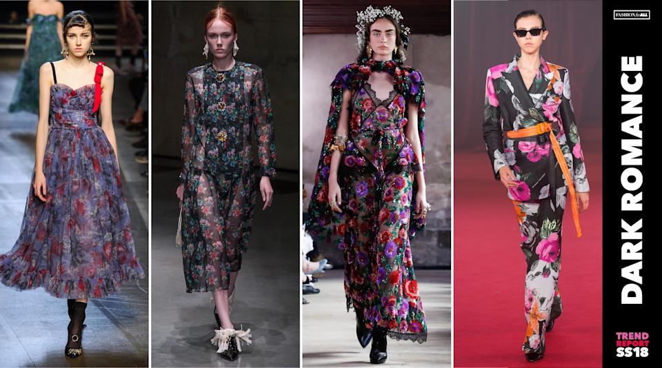 <p>Dark florals reigned over the runways for spring. The floral print ditches its typical summery hues for violet, magenta, dark green and black. (Photo: ImaxTree) </p>