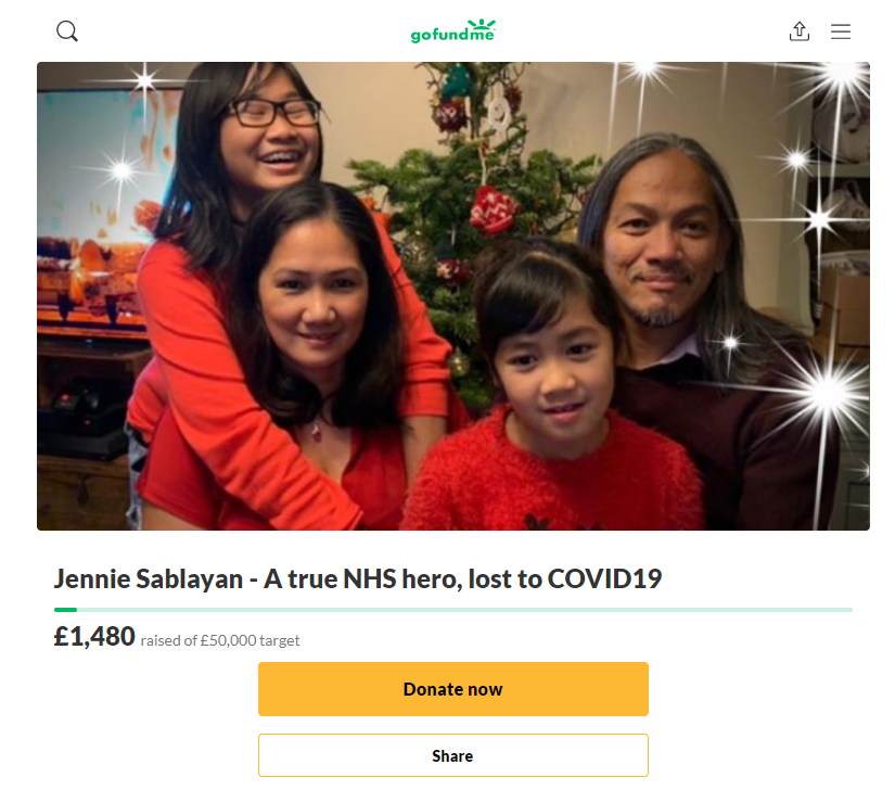 A fundraising page has been set up in memory of Jennie Sablayan (GoFundMe/PA)