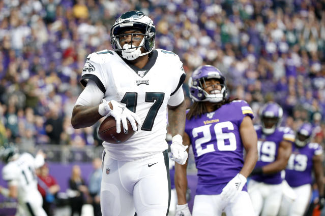 Philadelphia Eagles wide receiver Alshon Jeffery could be traded this offseason. (AP Photo/Bruce Kluckhohn)
