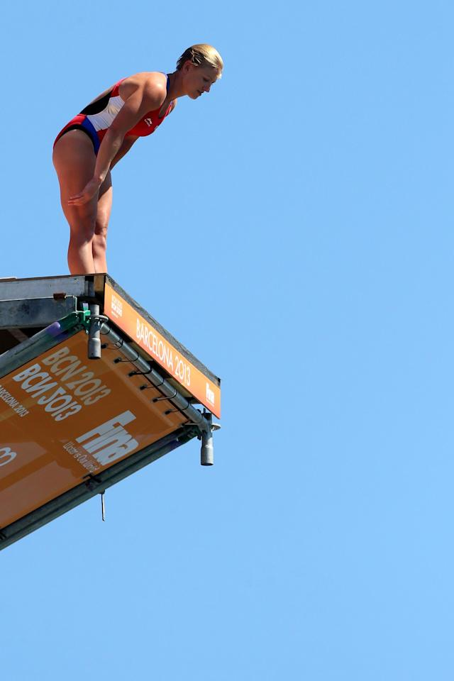 BARCELONA, SPAIN - JULY 30: Cesilie Carlton of the USA competes in the Women's 20m High Diving on day eleven of the 15th FINA World Championships at Moll de la Fusta on July 30, 2013 in Barcelona, Spain. (Photo by Quinn Rooney/Getty Images)