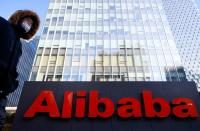 FILE PHOTO: FILE PHOTO: The logo of Alibaba Group is seen at its office in Beijing