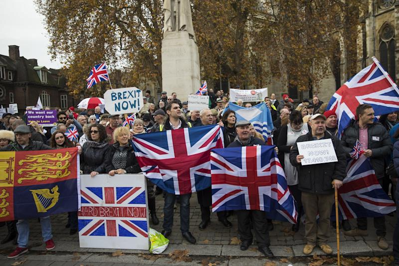Brexit supporters protest.