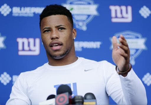 New York Giants running back Saquon Barkley speaks at a news conference at NFL football rookie camp, Friday, May 11, 2018, in East Rutherford, N.J. (AP Photo/Frank Franklin II) Rutherford, N.J. (AP Photo/Frank Franklin II)