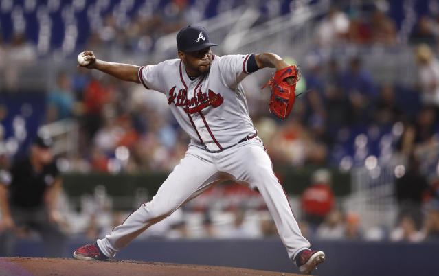 Atlanta Braves starting pitcher Julio Teheran delivers during the first inning of the team's baseball game against the Miami Marlins on Friday, Aug. 9, 2019, in Miami. (AP Photo/Brynn Anderson)
