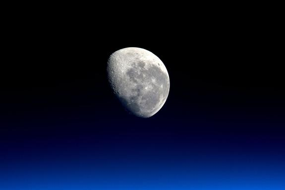Earth's moon as seen from the International Space Station. Photo taken by British astronaut Tim Peake.