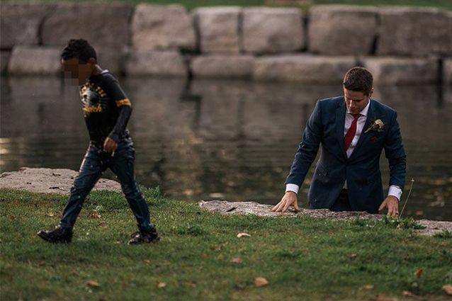 The images of the heroic groom quickly went viral once they were shared online. Source: Hatt Photography