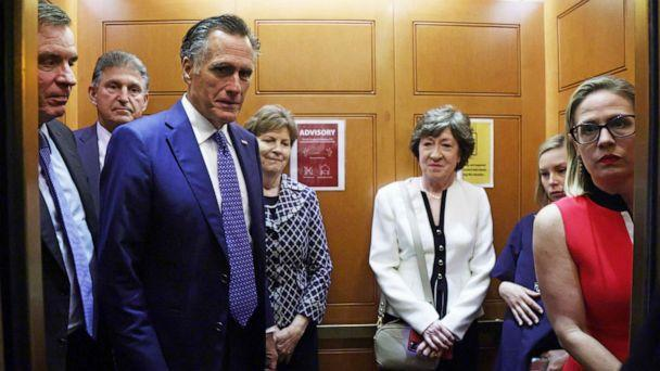 PHOTO: Sens. Mark Warner, Joe Manchin, Mitt Romney, Jeanne Shaheen, Susan Collins, and Kyrsten Sinema take a break from a meeting on infrastructure for going to a vote at the U.S. Capitol, on June 8, 2021, in Washington, D.C. (Alex Wong/Getty Images)