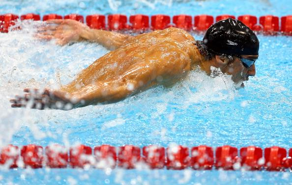 Michael Phelps of the United States competes in the Men's 100m Butterfly Final on Day 7 of the London 2012 Olympic Games at the Aquatics Centre on August 3, 2012 in London, England. (Photo by Paul Gilham/Getty Images)