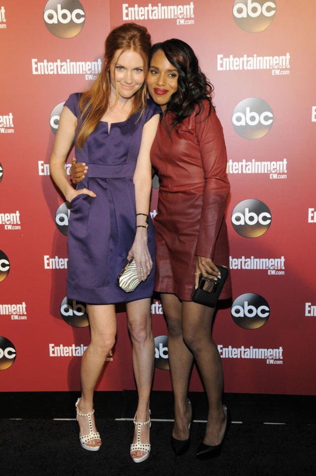 Darby Stanchfield and Kerry Washington attend the Entertainment Weekly & ABC 2013 New York Upfront Party at The General on May 14, 2013 in New York City.
