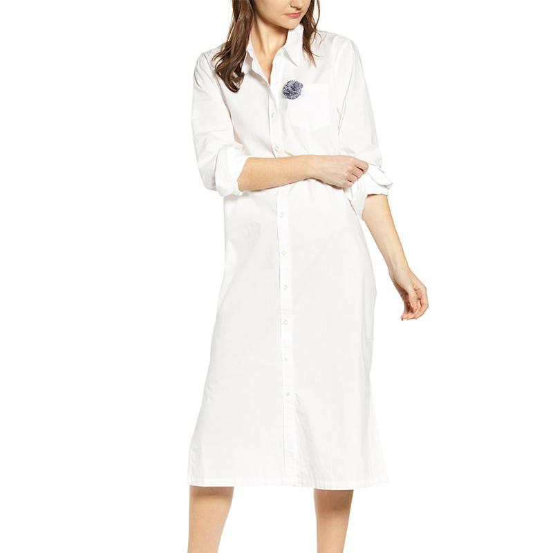 This crisp, white shirtdress features a large flower button detail for a pop of color. (Photo: Nordstrom)