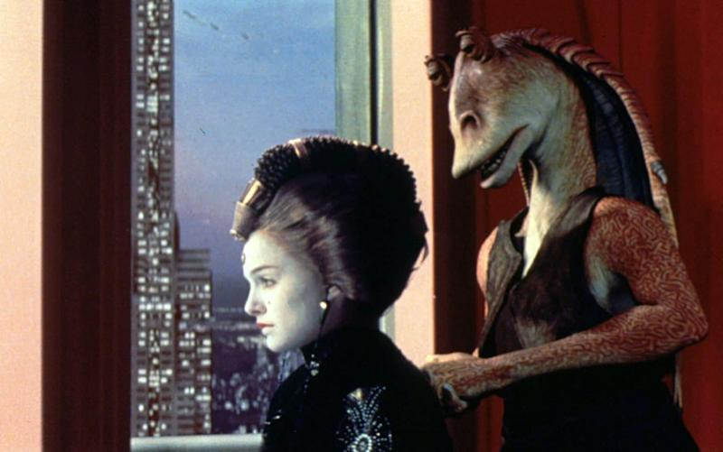Jar Jar Binks, right, a character in the Star Wars franchise, is part of a long tradition of racial stereotypes when it comes to extraterrestrials, the study said - AFP