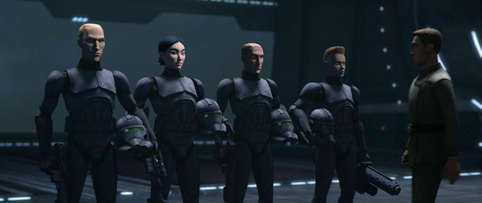 CG animated Imperial soldiers in The Bad Batch