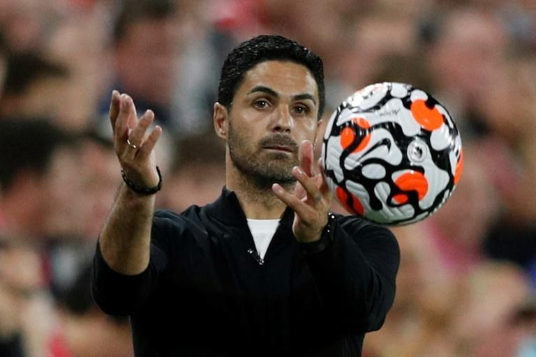 Arsenal manager Mikel Arteta is under pressure after the Gunners lost both their opening two Premier League games (AFP/Adrian DENNIS)