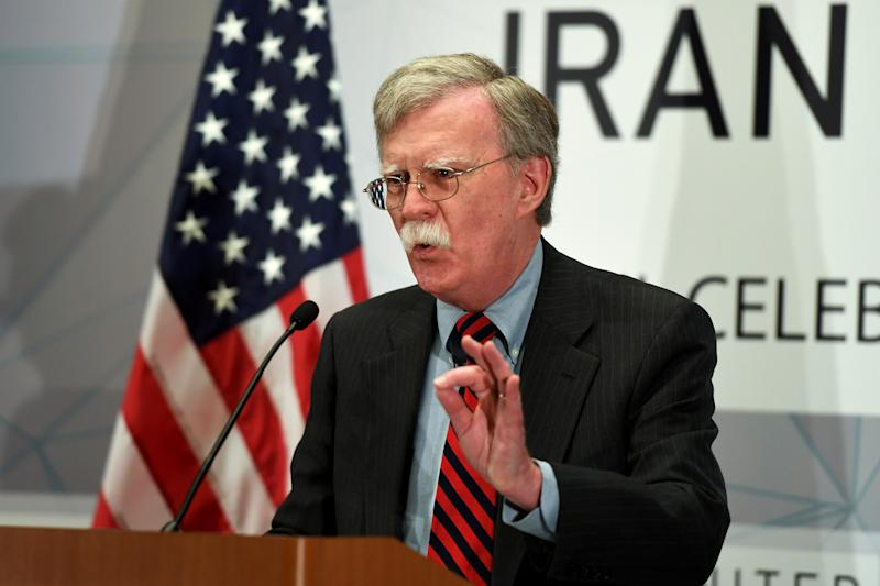 Then U.S. National Security Advisor John Bolton speaks during the United Against Nuclear Iran Summit on the sidelines of the United Nations General Assembly in New York City on September 25, 2018. (Darren Ornitz/Reuters)