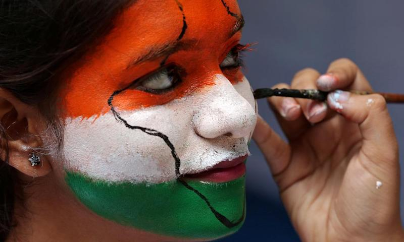 A girl takes part in India's independence day celebrations in Chennai on 15 August 2017.