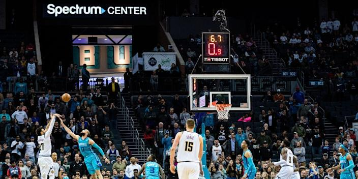 "Denver Nuggets and Charlotte Hornets at Spectrum Center on March 5, 2020, in Charlotte, North Carolina. <p class=""copyright"">Jacob Kupferman/Getty Images</p>"