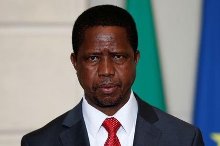 FILE PHOTO: Zambia's President Edgar Lungu attends a signing ceremony at the Elysee Palace in Paris
