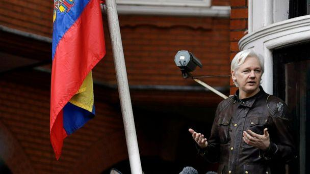FILE - In this Friday May 19, 2017 file photo, WikiLeaks founder Julian Assange gestures as he speaks on the balcony of the Ecuadorian embassy, in London. A senior Ecuadorian official said no decision has been made to expel Julian Assange from the co (The Associated Press)