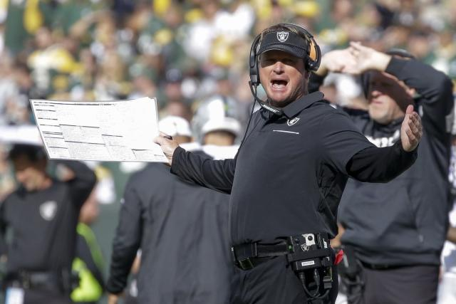 Oakland Raiders head coach Jon Gruden reacts during the second half of an NFL football game against the Green Bay Packers Sunday, Oct. 20, 2019, in Green Bay, Wis. (AP Photo/Jeffrey Phelps)