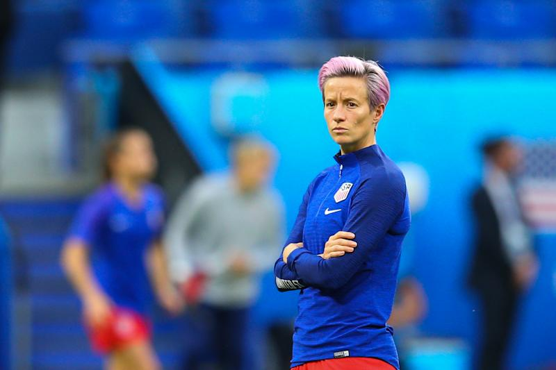 LYON, FRANCE - JULY 02: Megan Rapinoe of USA looks on during the pre-match warm-up ahead of the 2019 FIFA Women's World Cup France Semi Final match between England and USA at Stade de Lyon on July 2, 2019 in Lyon, France. (Photo by Craig Mercer/MB Media/Getty Images)